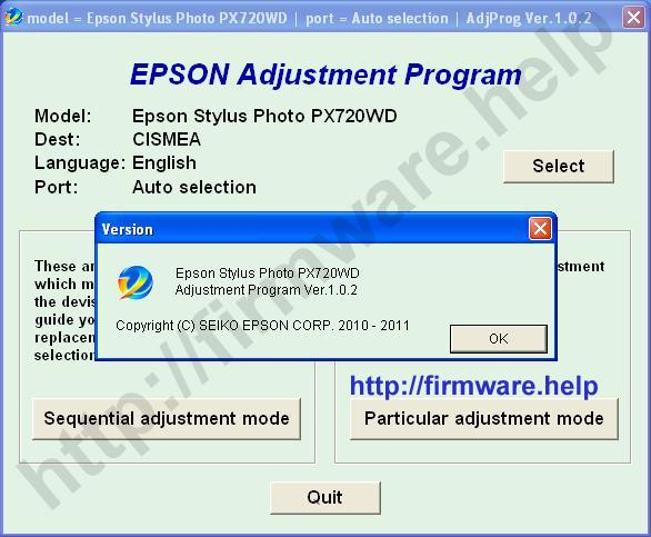 Epson PX720WD Adjustment Program