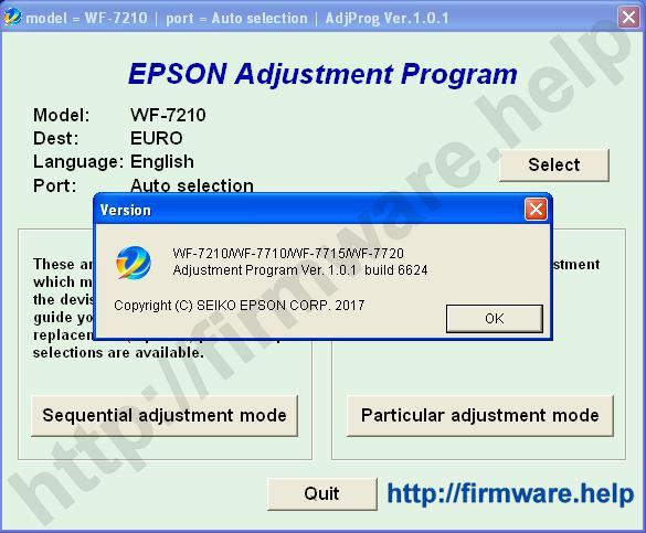 Epson WF-7210, WF-7710, WF-7715 Adjustment Program