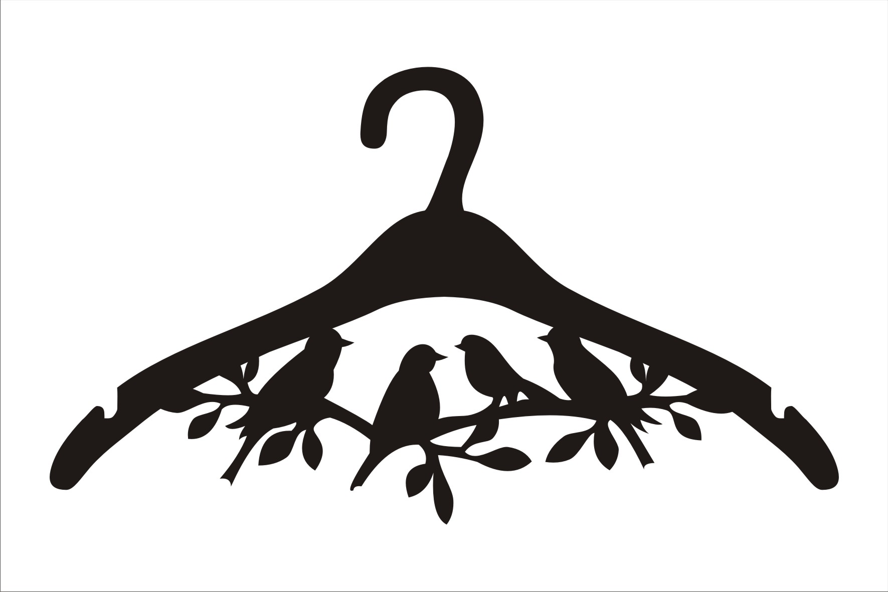 The layout in Corel. Hanger Birds on a branch