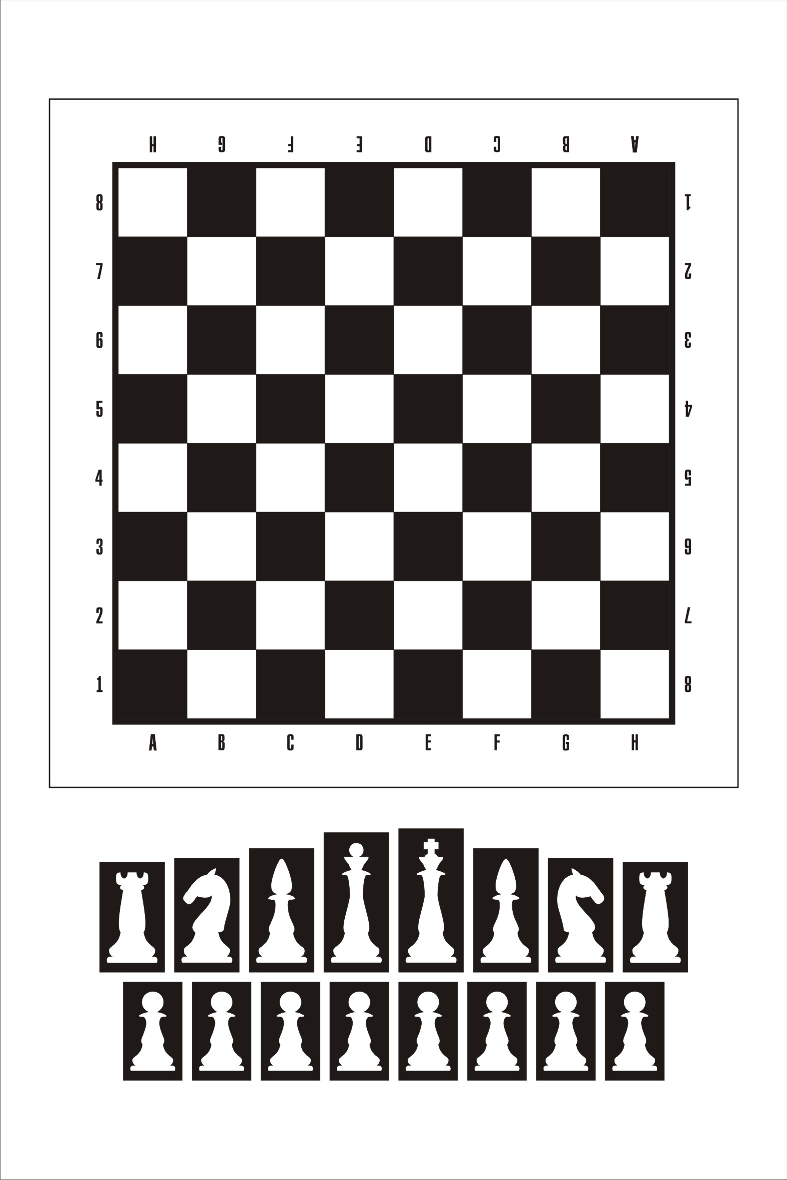 The layout in Corel. Chess №1 engraved