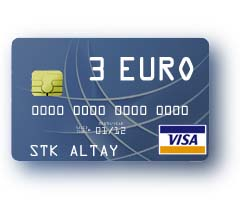 3 EURO Visa Virtual Card для оплаты в Интернет