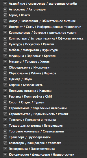 Database of organizations in Moscow. December 2015