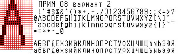 Font of thermal printer Prim 08 (Var. 2)