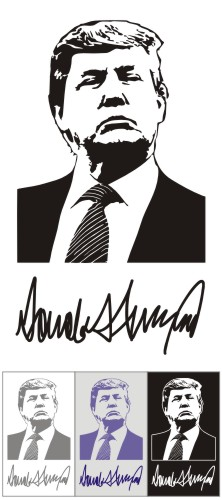 Donald Trump and his autograph. Vector (Corel Draw).