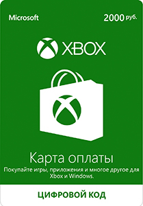 Xbox Live card payment of 2000 rubles