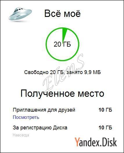 Zoom (expand) Yandex drive (Yandex disk) +10 GB