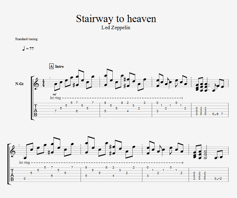 Led Zeppelin Stairway To Heaven fingerstyle gtp/pdf tab