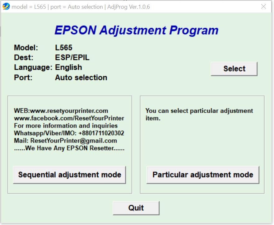 Epson L565 Adjustment Program