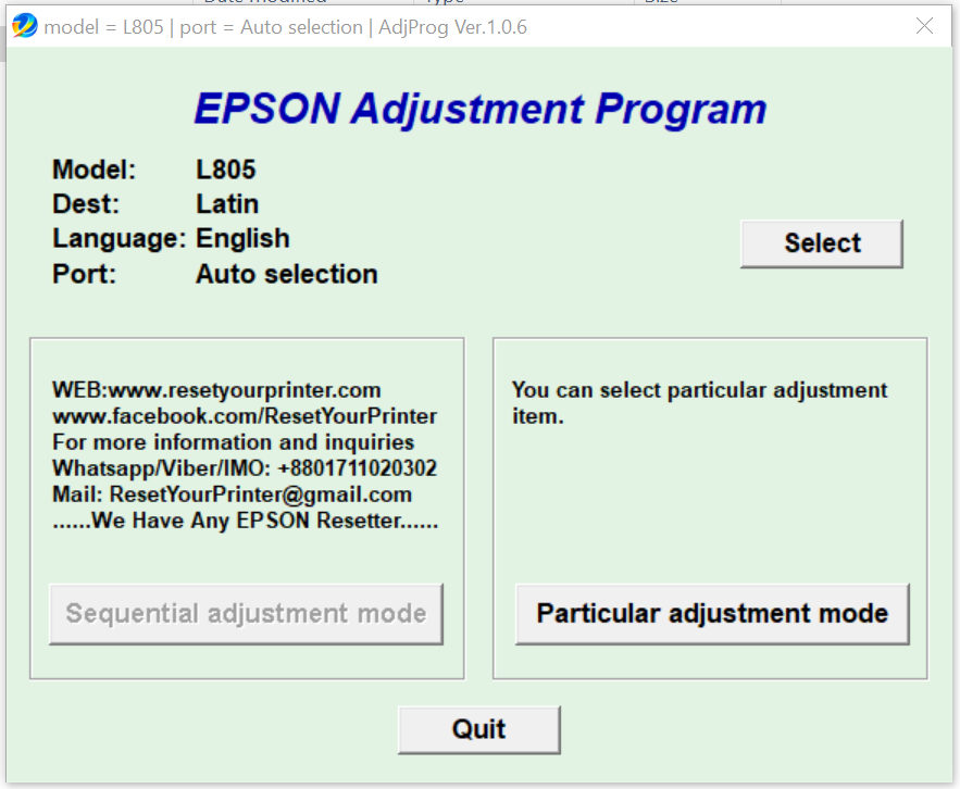 epson l805 printer adjustment program free download