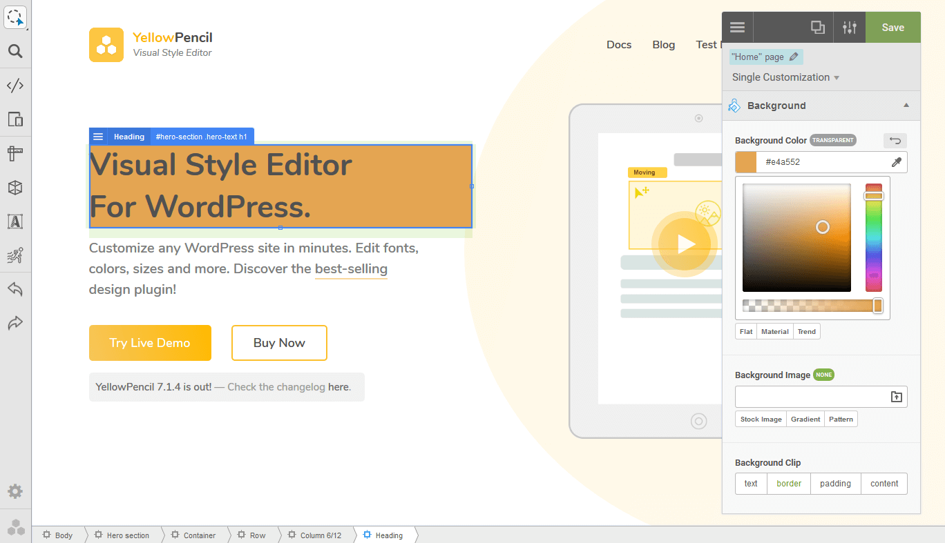 YellowPencil - Visual CSS Style Editor for WordPress