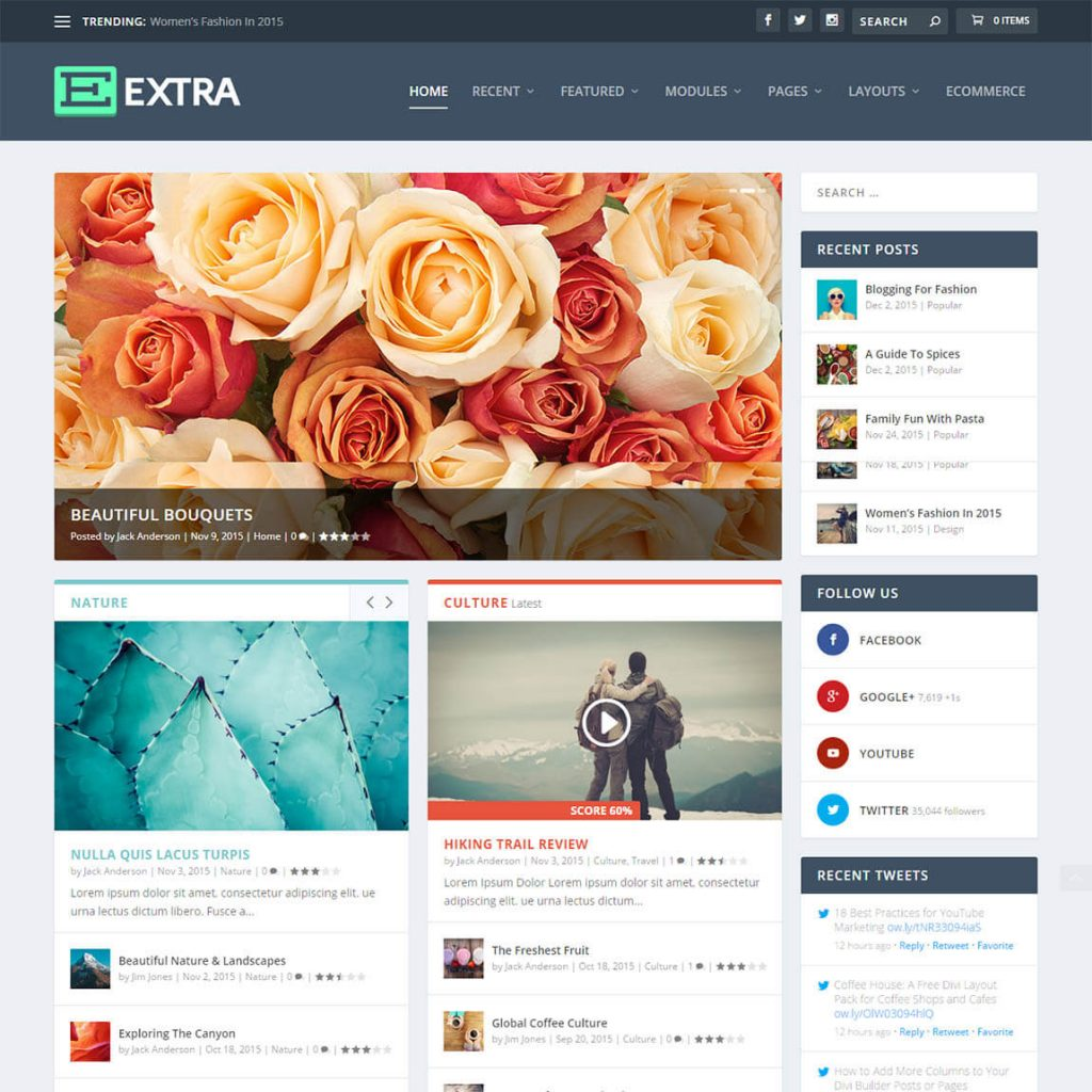Extra - шаблон WordPress новостей/журнала