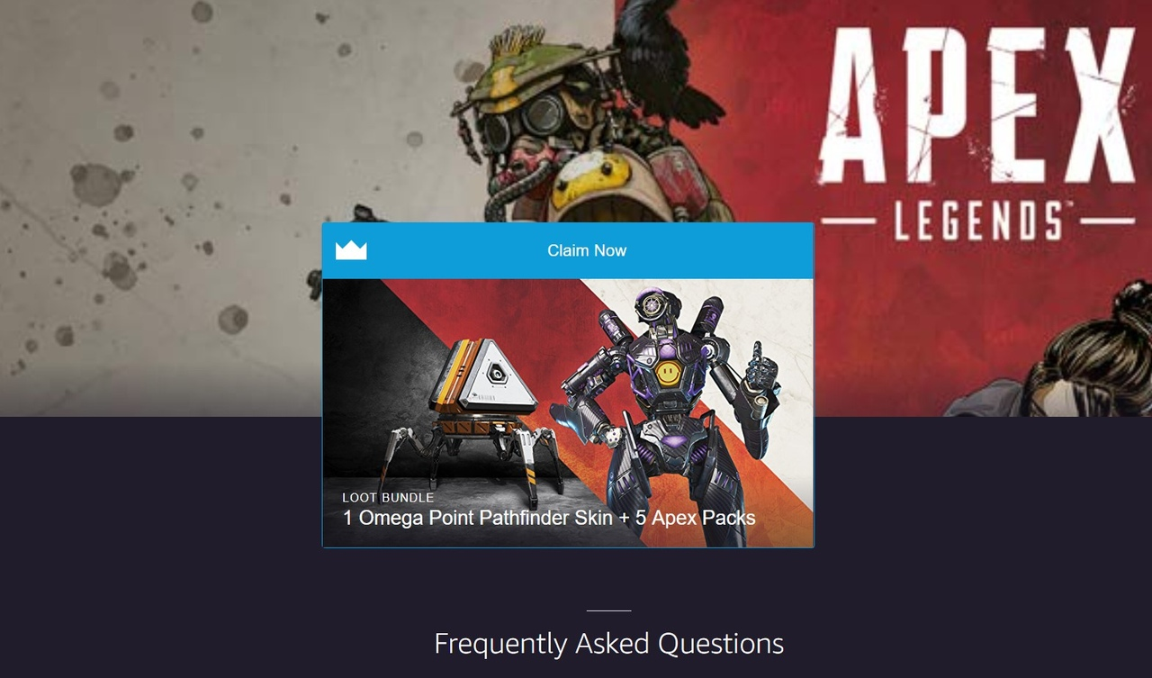 1 Omega Pathfinder Skins + 5 Apex Packs TWITCH PRIME 2019