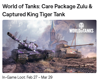 ⭐⭐⭐⭐⭐ Twitch Prime World of Tanks Zulu NEW 🎁