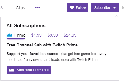 ⭐ Prime subscribers on Twitch channel ⭐