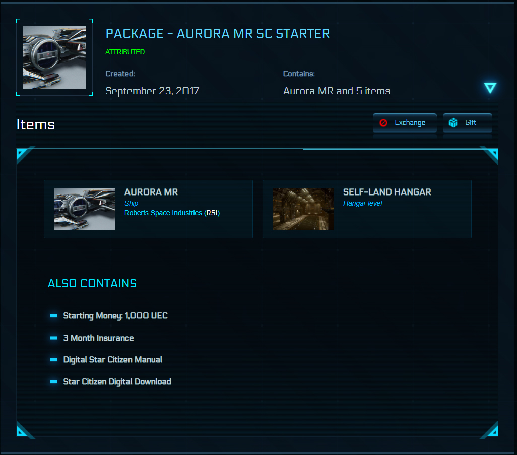 STAR CITIZEN: Package - Aurora MR SC Starter (70%) 2019