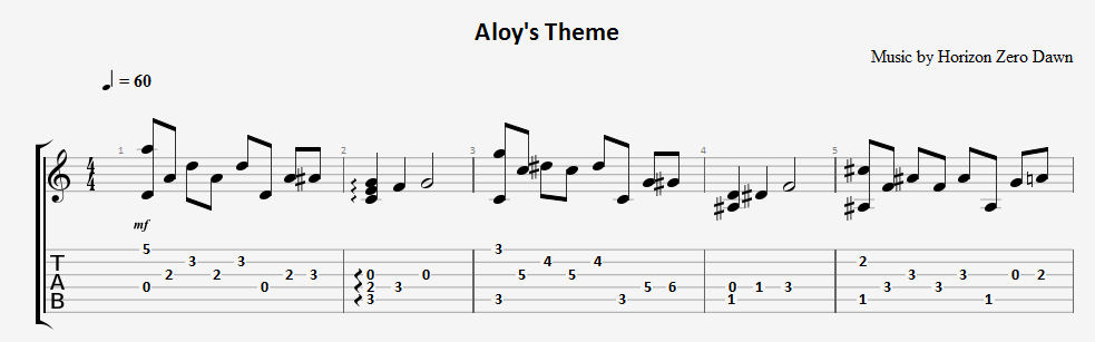 Aloy´s Theme (Horizon Zero Dawn) - guitar notes+tabs