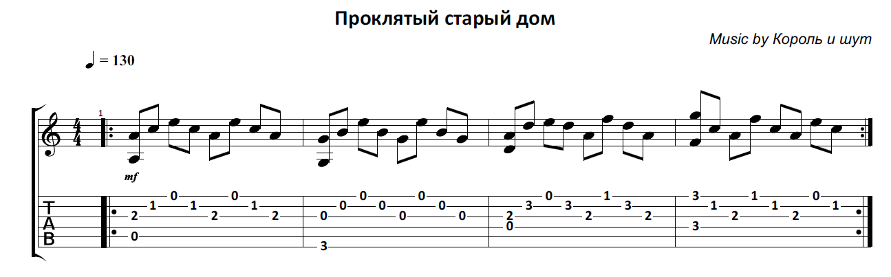 Proklyatyj staryj dom (Korol I Shut) - guitar notes+tab