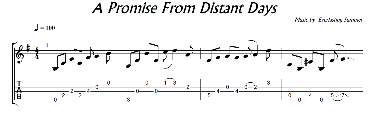 A Promise From Distant Days (ES) - guitar note+tab