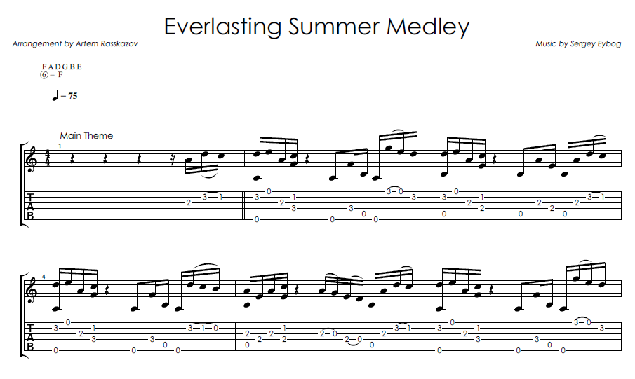 Everlasting Medley - Fingerstyle notes+tabs