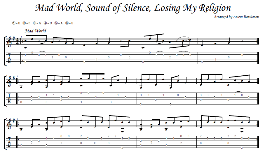 Mad World Sound of Silence Losing My Religion - tab