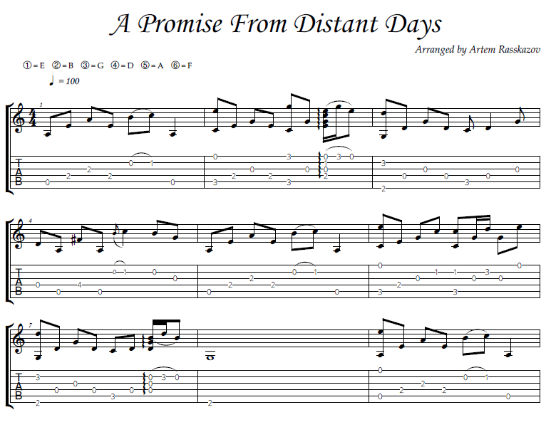 A Promise from Distant Days - fingerstyle guitar + tabs