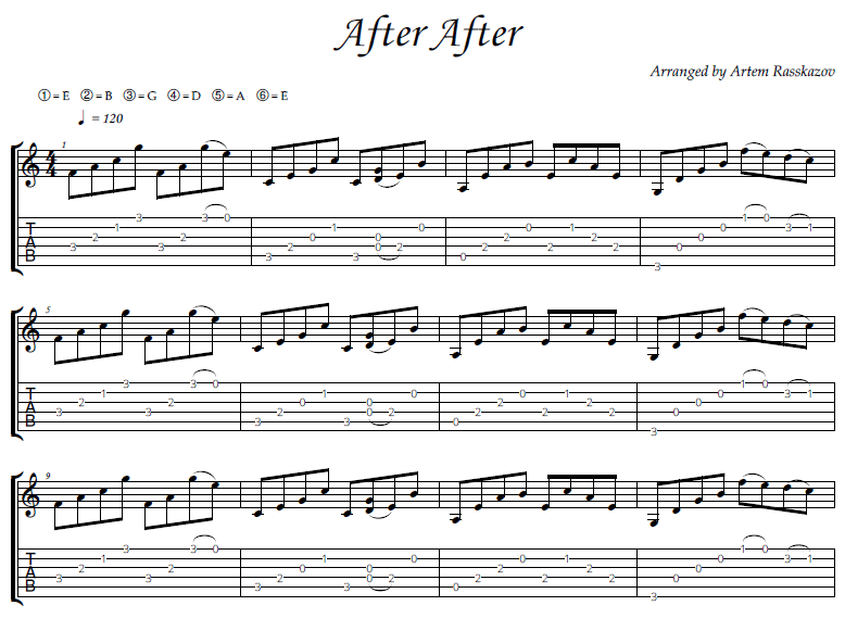 After After - fingerstyle guitar + tabs