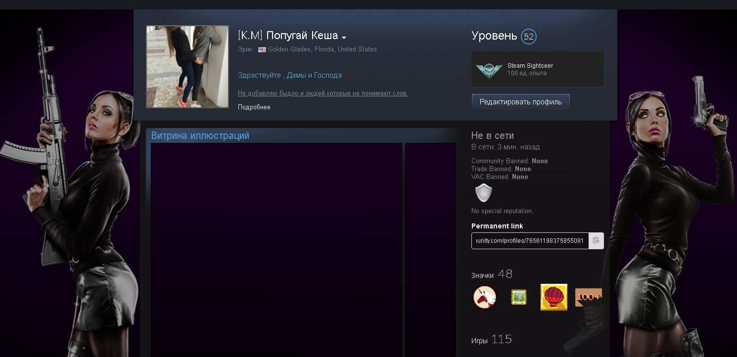 Steam account with 115 games and skins from CS: GO 2019