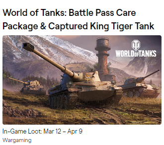 ✳ ✳ ✳  WOT Twitch Prime Care Package Battle Pass ✳ ✳ ✳