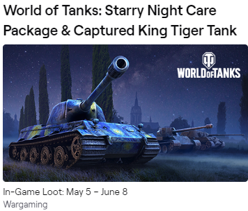 ✳ ✳ ✳ WOT Twitch Prime Care Package Starry Night ✳ ✳ ✳