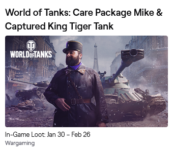 ✳ ✳ ✳  WOT Twitch Prime Care Package MIKE ✳ ✳ ✳