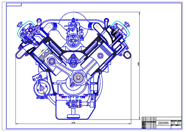 Cross-section of a diesel engine 8CHN 13/14