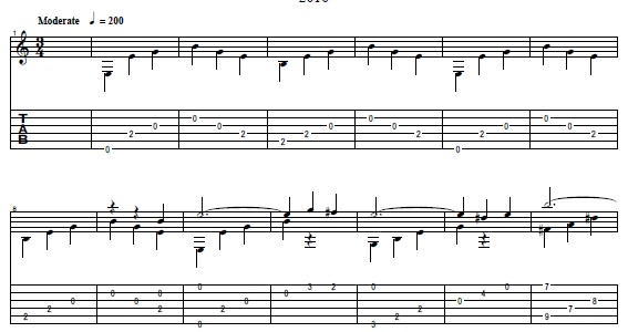 """Love and separation."" Sheet music for guitar"