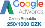 Промокод купон Google AdWords Адвордс на 1000 CZK ЧЕХИЯ