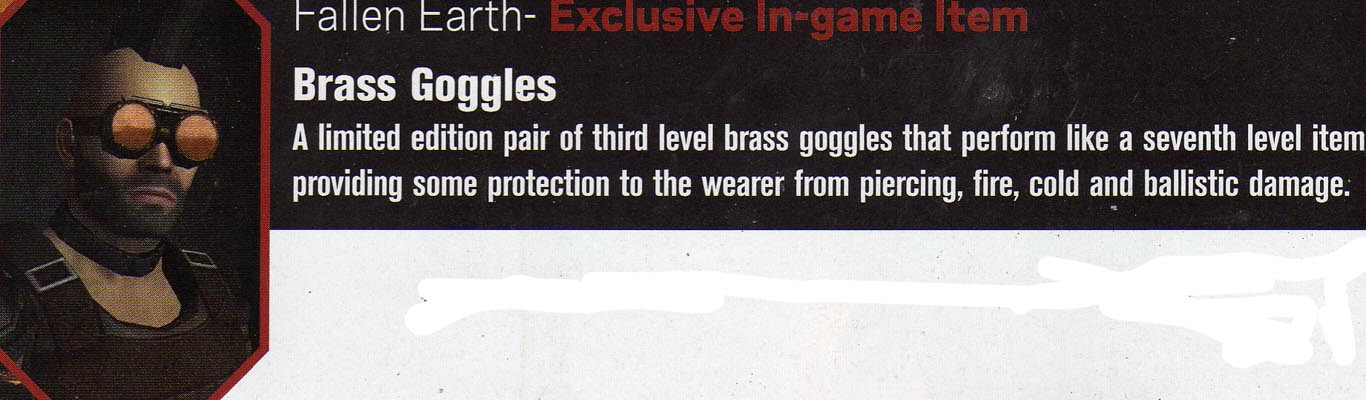 Fallen Earth Exclusive bonus - Brass Googles